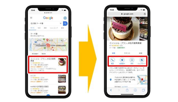 名古屋+ケーキ屋で検索(スマホの場合)